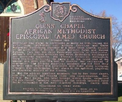 Quinn Chapel African Methodist Episcopal (A.M.E.) Church Marker (Side A) image. Click for full size.