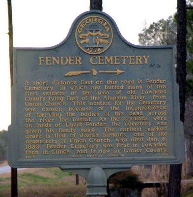 Fender Cemetery Marker Photo, Click for full size