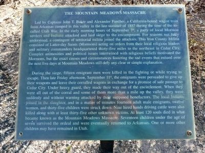 The Mountain Meadows Massacre Marker image. Click for full size.