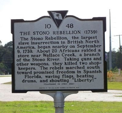 The Stono Rebellion Marker, front side image. Click for full size.