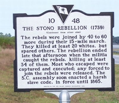 The Stono Rebellion Marker, reverse side image. Click for full size.