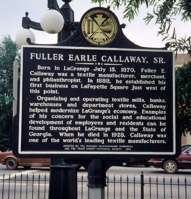 Fuller Earle Callaway, Sr. Marker Photo, Click for full size