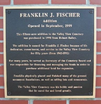 Franklin J. Fischer Addition Marker Photo, Click for full size