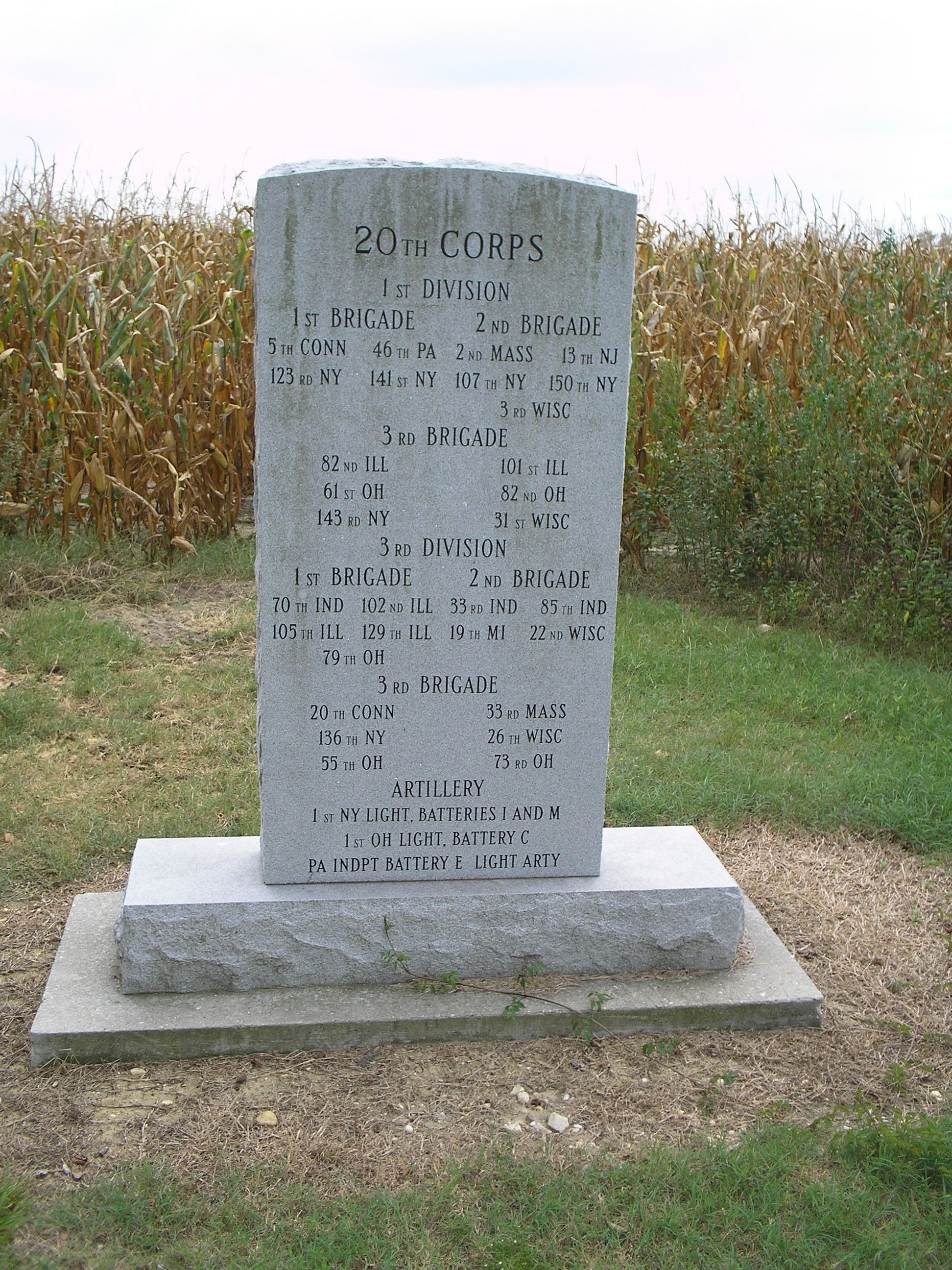 20th Corps Marker