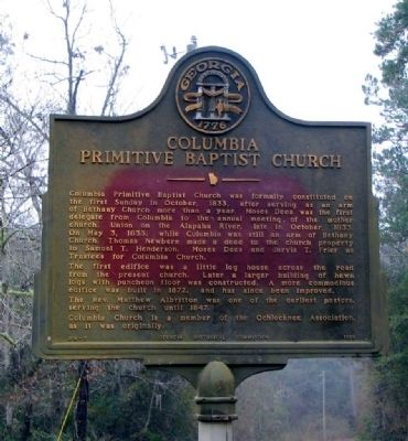 Columbia Primitive Baptist Church Marker Photo, Click for full size