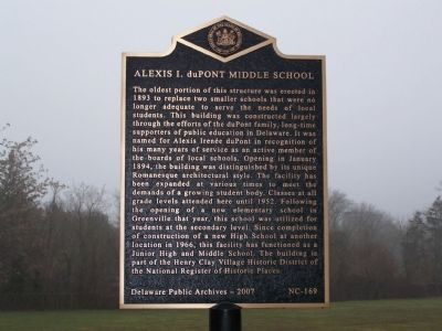 Alexis I. duPont Middle School Marker image. Click for full size.