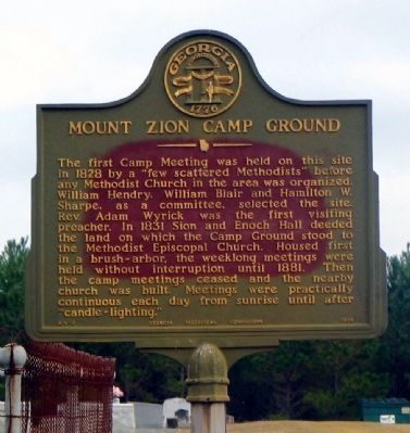 Mount Zion Camp Ground Marker image. Click for full size.
