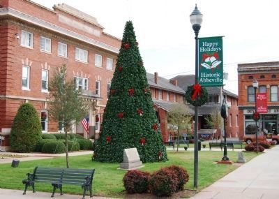 The Law Offices of John C. Calhoun Marker at<br>Base of Abbeville Christmas Tree Photo, Click for full size
