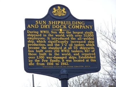 Sun Shipbuilding and Dry Dock Company Marker Photo, Click for full size