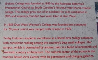Erskine College Marker Photo, Click for full size