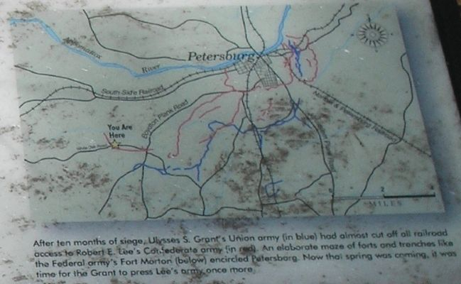 Petersburg Fortifications Map from Marker Photo, Click for full size