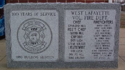 West Lafayette Volunteer Fire Department Centennial Marker image. Click for full size.