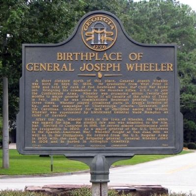 Birthplace of General Joseph Wheeler Marker image. Click for full size.