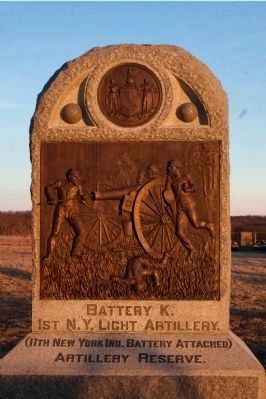 Battery K, 1st N.Y. Light Artillery Monument at dusk. image. Click for full size.