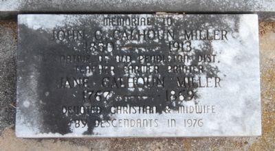 Miller Tombstone<br>Old Stone Church Cemetery<br>Pendleton, S.C. Photo, Click for full size