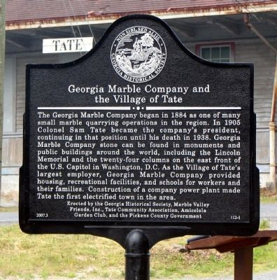 Georgia Marble Company and the Village of Tate Marker image. Click for full size.