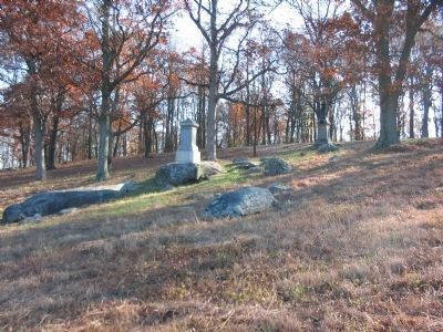 Looking Up the Slope at the 98th Penn. and 121st N.Y. Monuments Photo, Click for full size