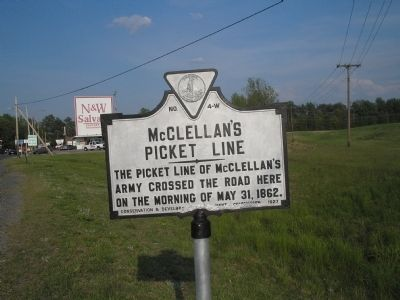 McClellan's Picket Line Marker image. Click for full size.
