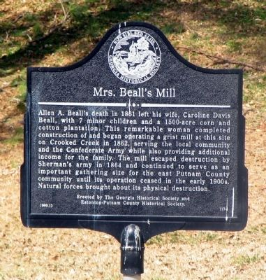 Mrs. Beall's Mill Marker image. Click for full size.