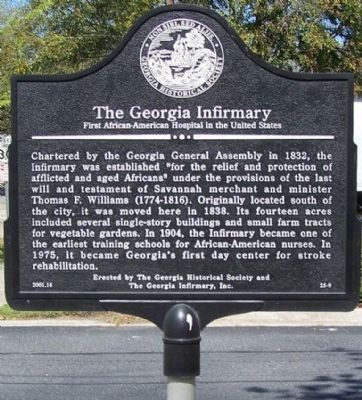 Georgia Infirmary Marker image. Click for full size.