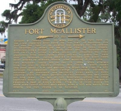 Fort McAllister Marker Photo, Click for full size