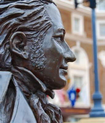 Joel Roberts Poinsett Statue - Face Detail<br>Poinsett Hotel in Background image. Click for full size.