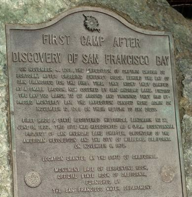 First Camp After Discovery of San Francisco Bay Marker image. Click for full size.