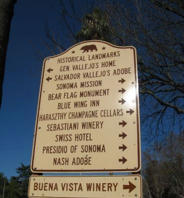 State Historical Landmark Directional Sign at Entrance to Sonoma Plaza Area Photo, Click for full size