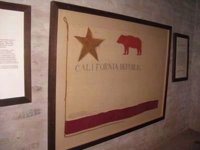 Replica of the Original Bear Flag on Display at Sonoma Barracks Museum image. Click for full size.