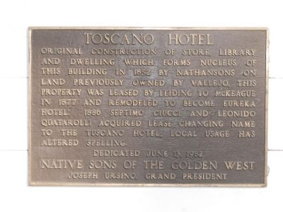 Toscano Hotel Marker Photo, Click for full size
