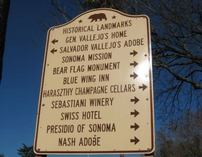 State Historical Landmark Directional Sign at Entrance to Sonoma Plaza Area image. Click for full size.
