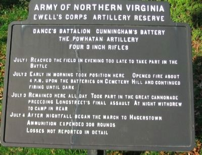Cunningham's Battery - Dance's Battalion Tablet image. Click for full size.