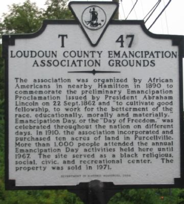 Loudoun County Emancipation Association Grounds Marker Photo, Click for full size