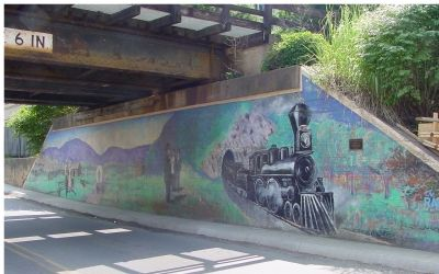 Railroad Underpass Mural, by Bob Kirchman image. Click for full size.
