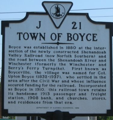 Town of Boyce Marker image. Click for full size.