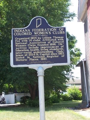 Indiana Federation of Colored Women's Clubs Marker Photo, Click for full size