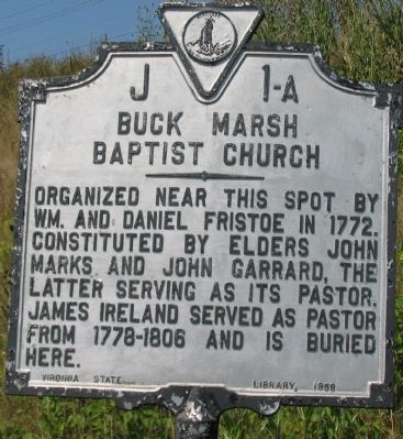 Buck Marsh Baptist Church Marker image. Click for full size.