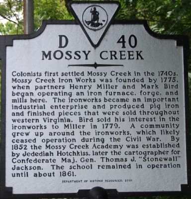 Mossy Creek Marker Photo, Click for full size