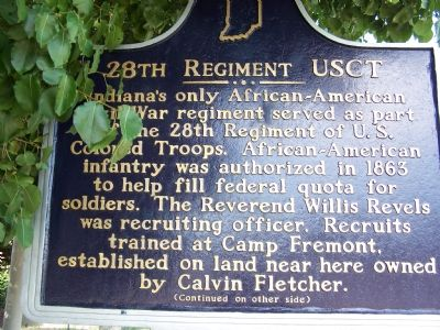Side One: 28th Regiment USCT Marker image. Click for full size.