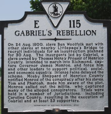Gabriel's Rebellion Marker image. Click for full size.