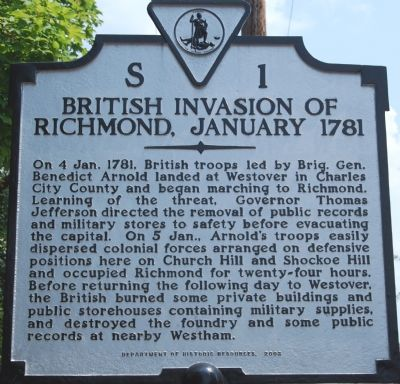 Invasion of Richmond, January 1781 Marker image. Click for full size.