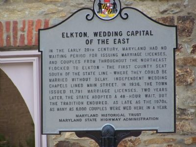 Elkton, Wedding Capital of the East Marker Photo, Click for full size