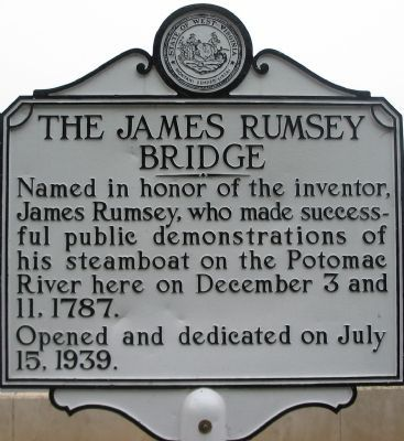 The James Rumsey Bridge Marker Photo, Click for full size