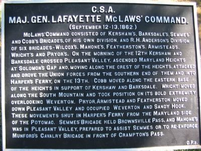 Crampton's Pass War Department Tablet C.P. 2 Marker image. Click for full size.