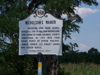 Nicholson's Manor Marker image. Click for full size.