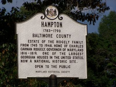Hampton 1783-1790 Baltimore County Marker image. Click for full size.