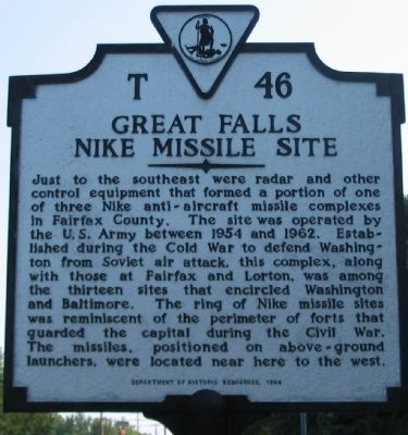 Great Falls Nike Missile Site Marker image. Click for full size.