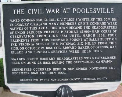 The Civil War at Poolesville Marker image. Click for full size.