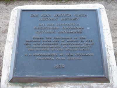 San Juan Bautista Historic District Marker image. Click for full size.