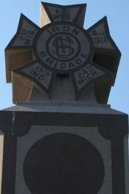 Iron Brigade Symbol on Top of Monument image. Click for full size.